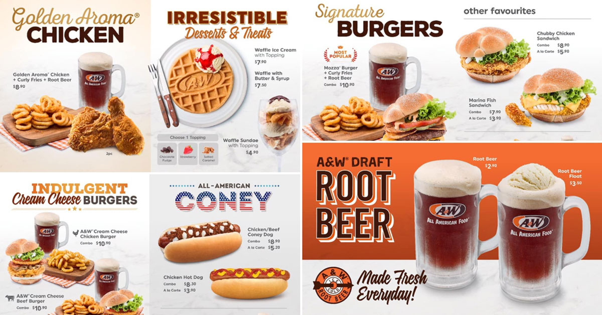 Here's the official A&W Restaurant menu so you can decide what to order when queueing