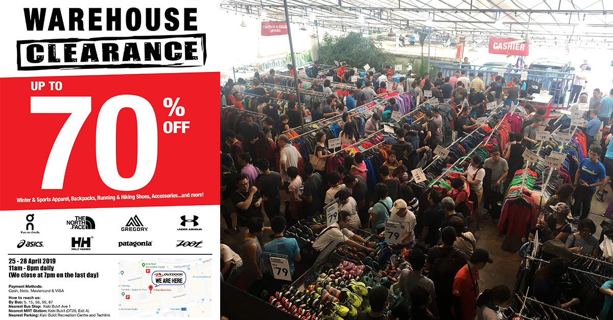 Outdoor Venture Warehouse Sale in Kaki Bukit will have sportswear & adventure gear up to 70% off from Apr 25 – 28