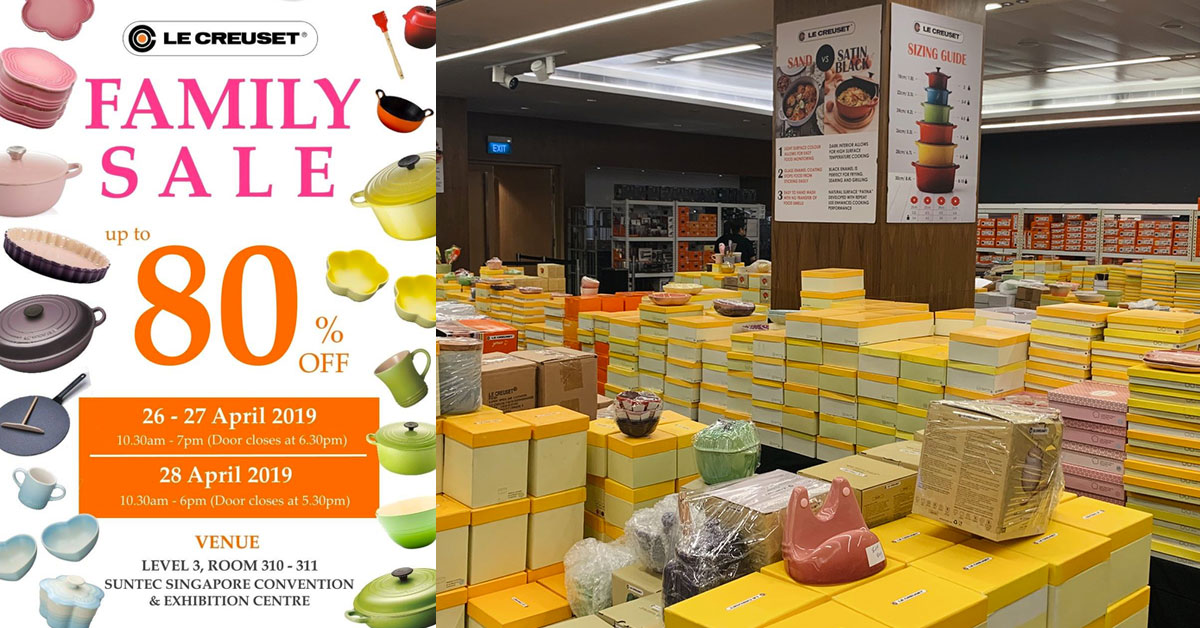 Le Creuset Warehouse Sale at Suntec Convention till April 28 has racks of French cookware up to 80% off