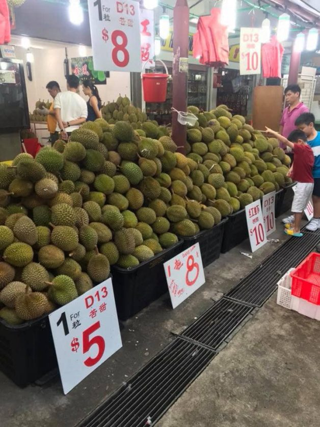 This durian shop in Tiong Bahru is selling Mao Shan Wang Durians at