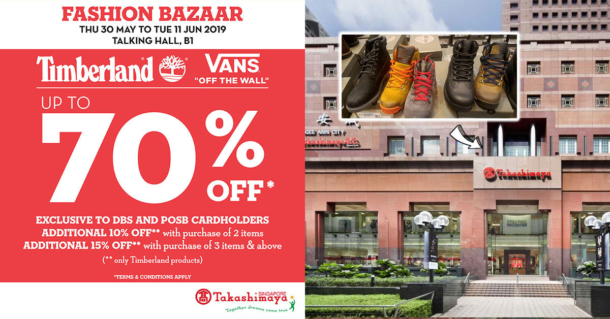 Takashimaya will be having a sale on Timberland & Vans items up to 70% off from Thursday, May 30