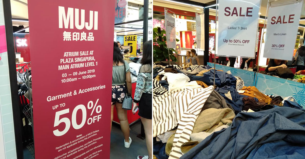 MUJI is having an Atrium Sale at Plaza Singapura with clothing & accessories up to 50% off till Sunday