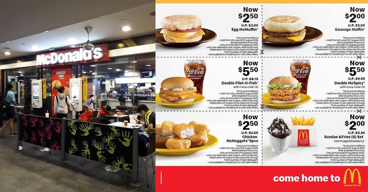 Save up to almost $5 with these McDonald's discount coupons at Causeway Point valid till August 31