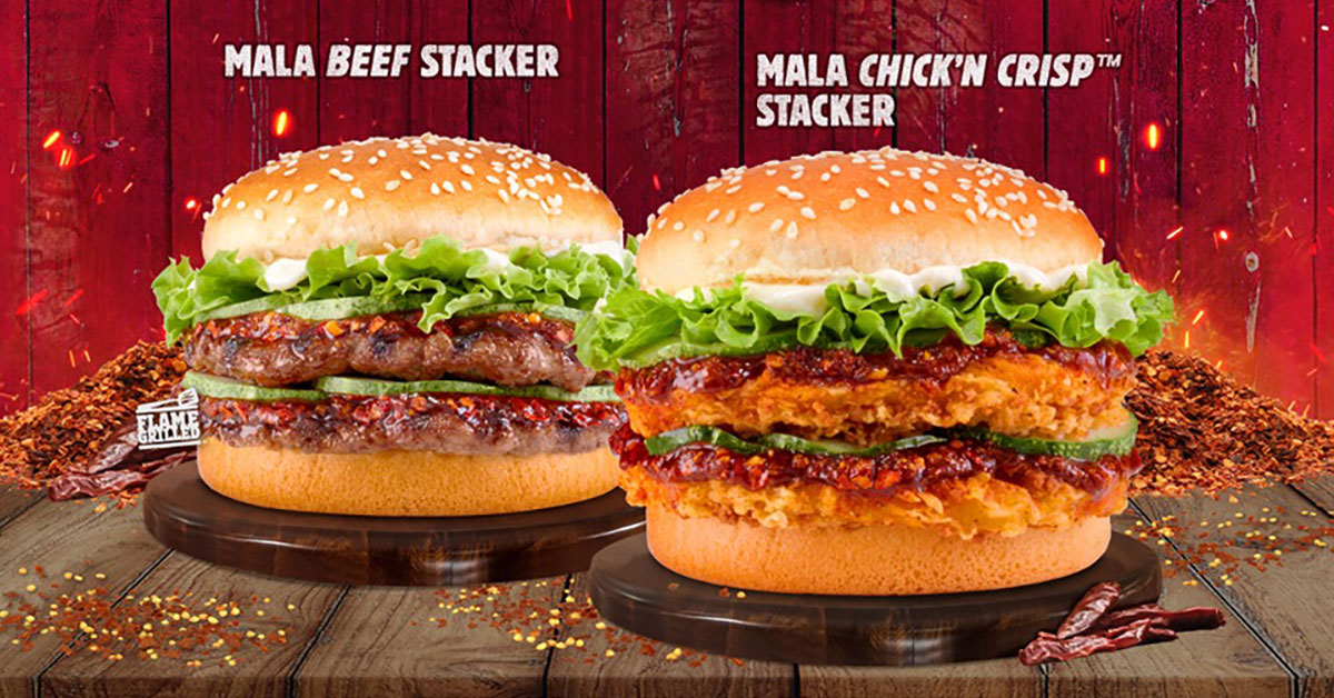 Burger King has a limited-time deal that lets you enjoy 2 x Mala Burgers for only $5.40 (U.P. $10.80)
