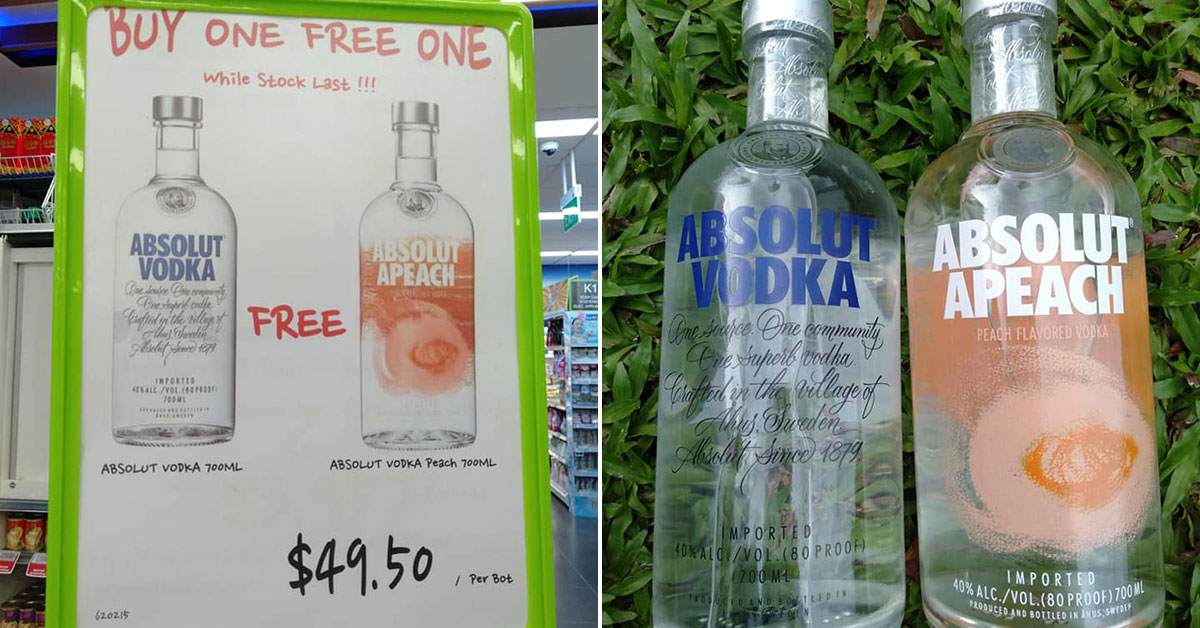 Sheng Siong now having 1-for-1 offer on Absolut Vodka. Buy 2 bottles for only $49.50 now
