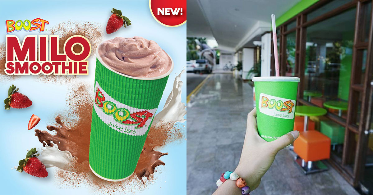Boost Juice Bar now has MILO Smoothie made with Strawberry Yoghurt mix at $6.50 per cup