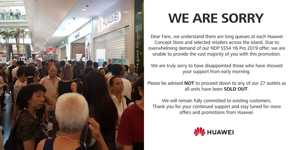 Huawei Y6 Pro out of stock on 1st day of NDP Promotion, suffers backlash from angry fans & customers