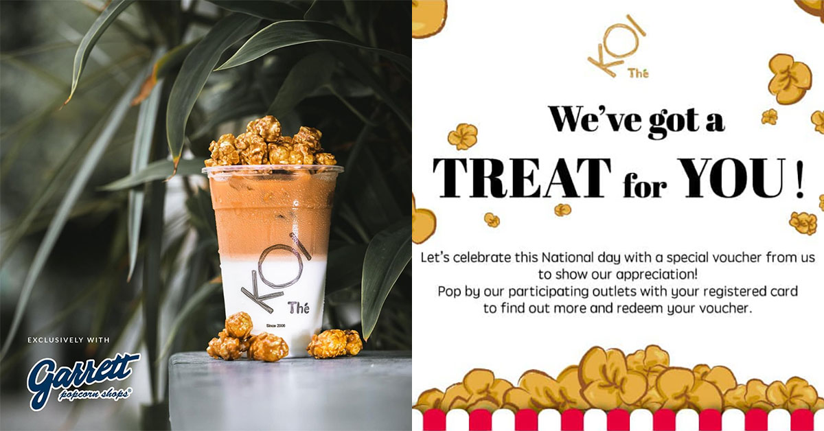 KOI cafe is giving free Popcorn Tea Latte to all their members till August 9 in National Day celebration