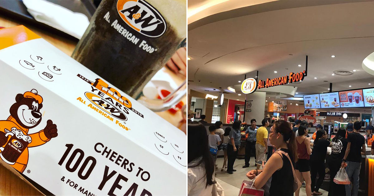 A&W new outlet finally opens in AMK Hub on National Day. Root Beer Float & Curly Fries, here we come