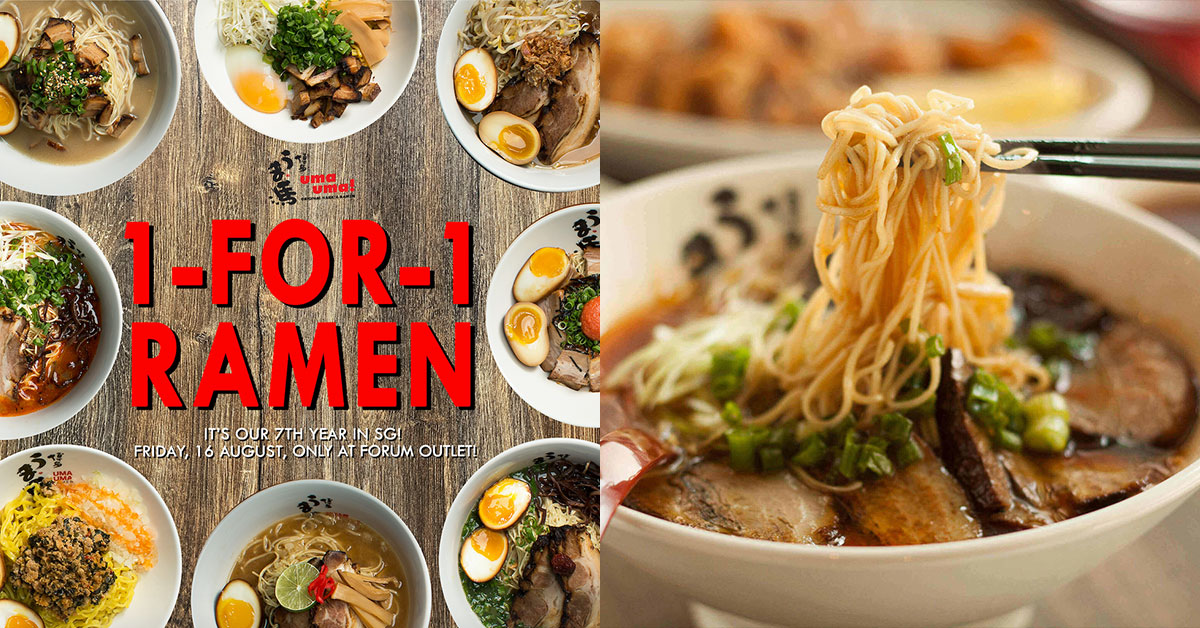 Uma Uma @ Forum turns 7, offers 1-for-1 Promotion on 8 types of ramen all day on August 16