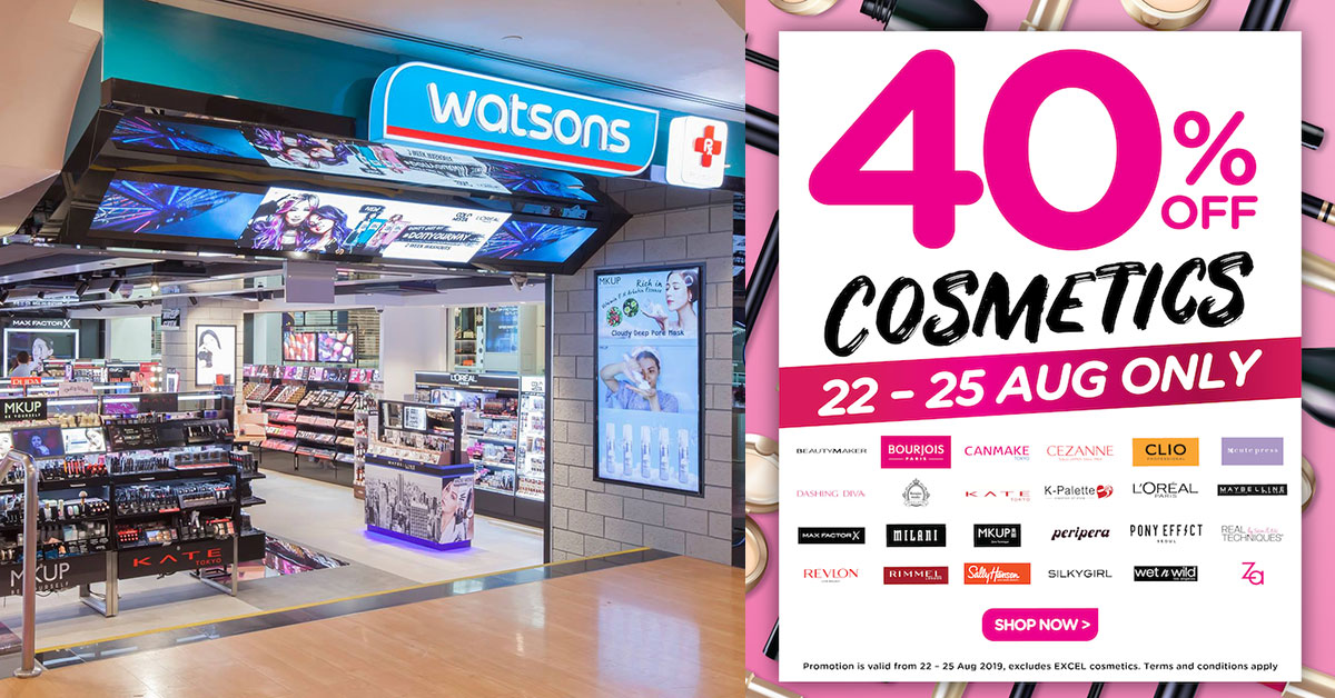 Watsons is having 40% off cosmetics for the first time ever till August 25. No minimum spending required