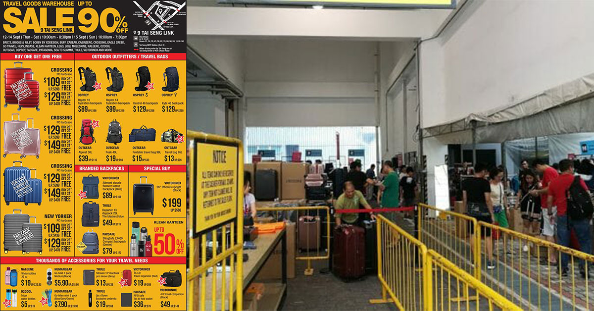 The Famous Tai Seng Warehouse Sale returns from Sept 12 – 15 with thousands of travel goods up to 90% off