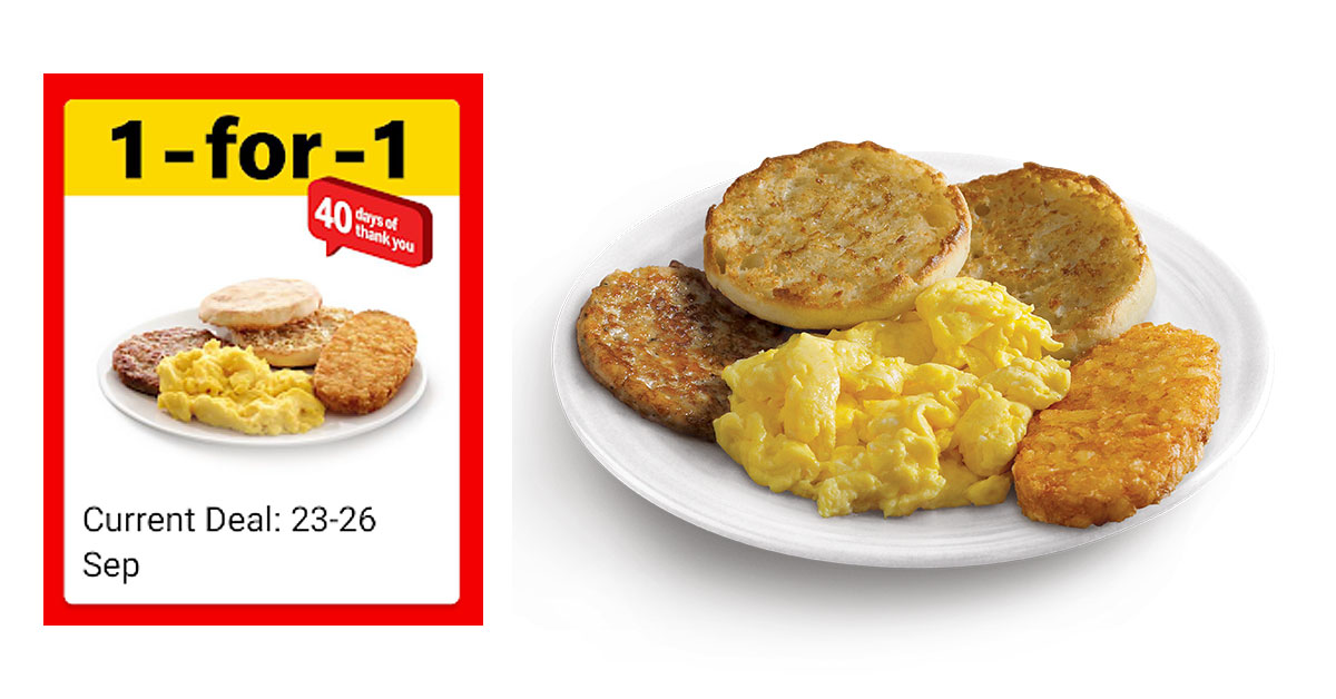Fire up McDonald's app to redeem a 1-for-1 Big Breakfast deal till Sept 26 this week