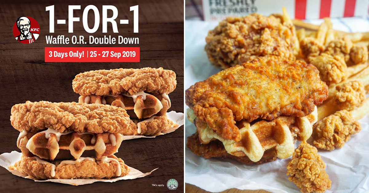 KFC S'pore new Waffle Double Down is getting a 1-for-1 offer this week from Sept 25 – 27