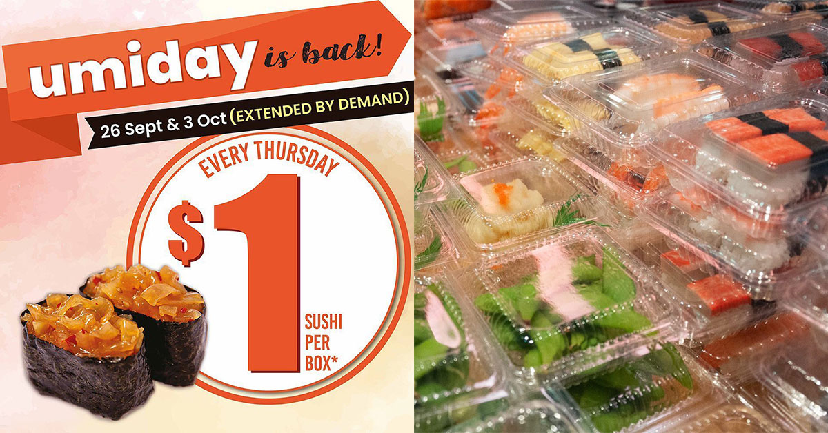Umisushi extends $1 Sushi Promotion on Thursdays till Oct 3 due to popular demand