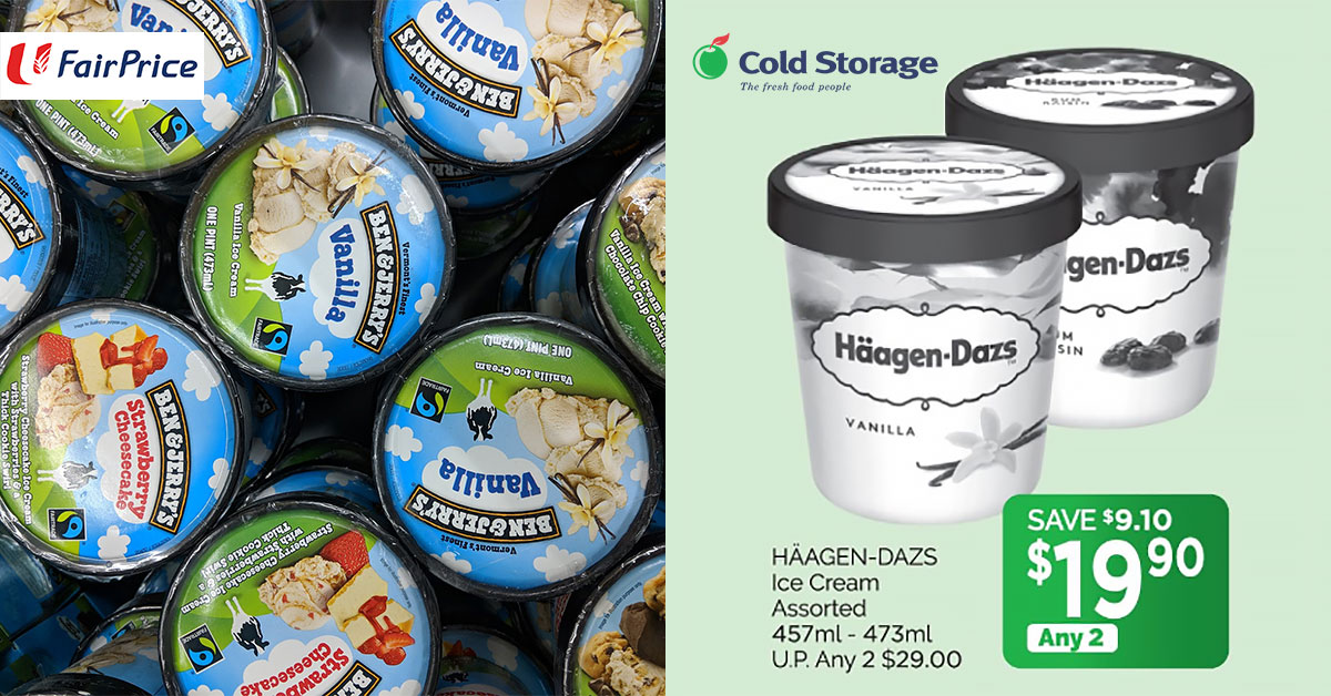 Häagen-Dazs and Ben & Jerry's ice cream going for less than $10 per tub at supermarkets till Oct 10