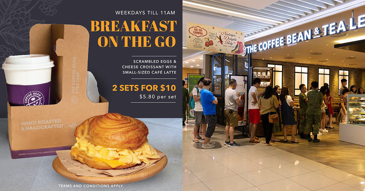 Coffee Bean selling 2 sets of Scrambled Eggs & Cheese Croissant with hot drink for only $10 before 11am