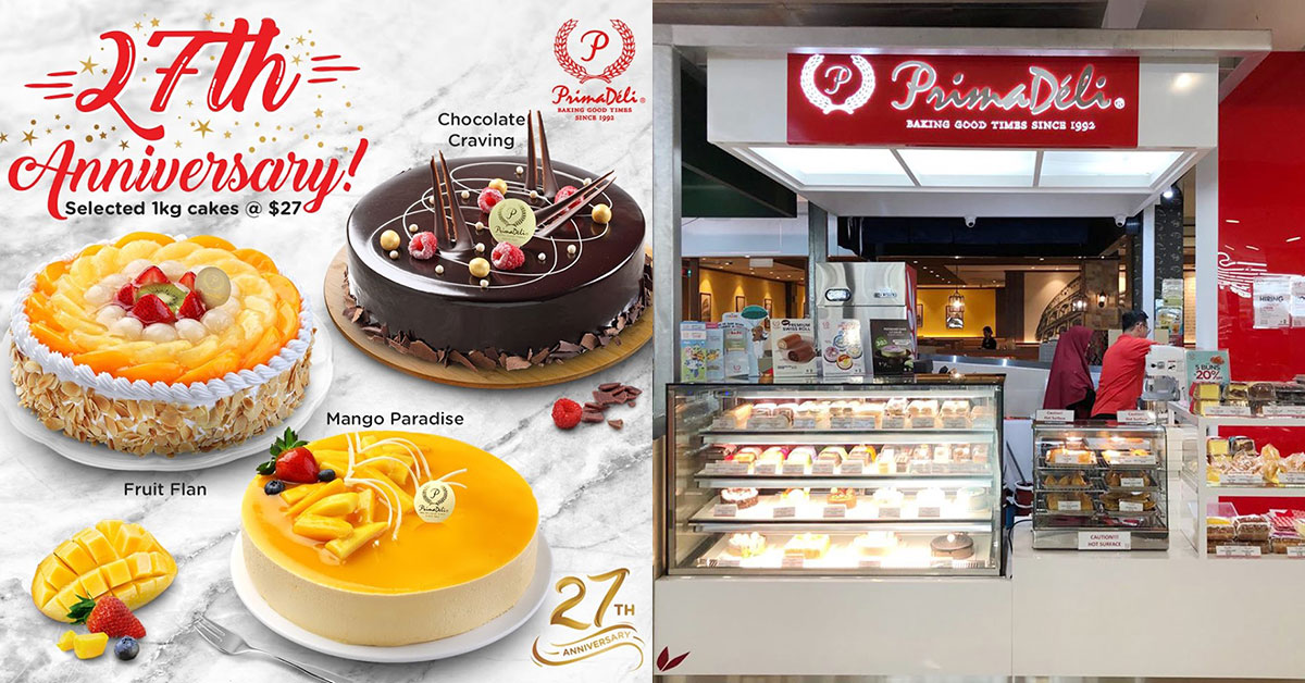 PrimaDeli selling 1kg whole cakes at just $27 (U.P. $43.80) till Oct 17. Choose from Chocolate, Mango & Fruity flavours