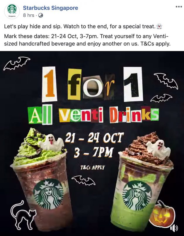 Starbucks S Pore 1 For 1 Offer On All Handcrafted Drinks