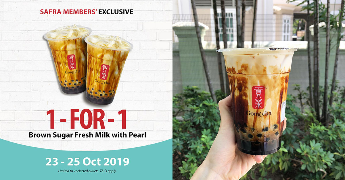 SAFRA members enjoy 1-for-1 Gong Cha Brown Sugar Fresh Milk with Pearls from Oct 23 – 25