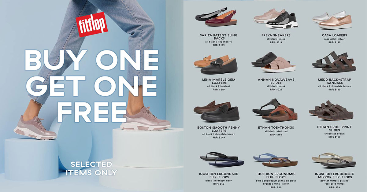 FitFlop S'pore now having 1-for-1 Promotion on over 20 styles from $49 at Wisma, VivoCity, IMM & Waterway Point till Nov 28