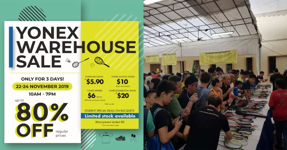 Yonex Warehouse Sale from Nov 22 – 24 will have badminton rackets from $5.90 and everything up to 80% off