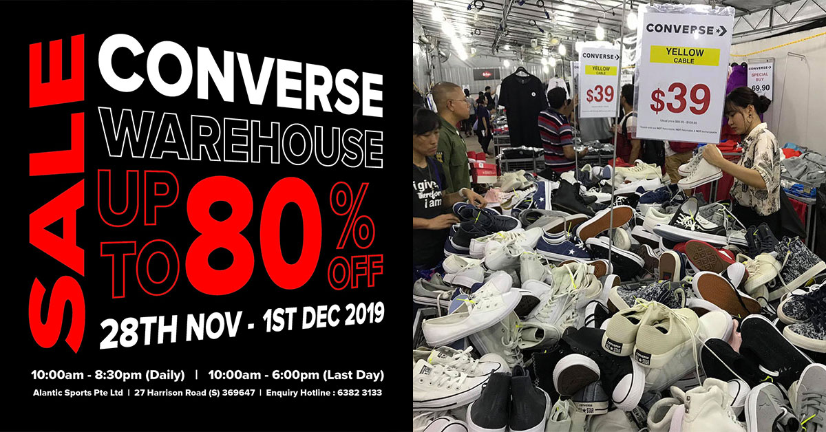 Converse Warehouse Sale will be back from Nov 28 – Dec 1 with up to 80% off shoes, bags, apparels & more
