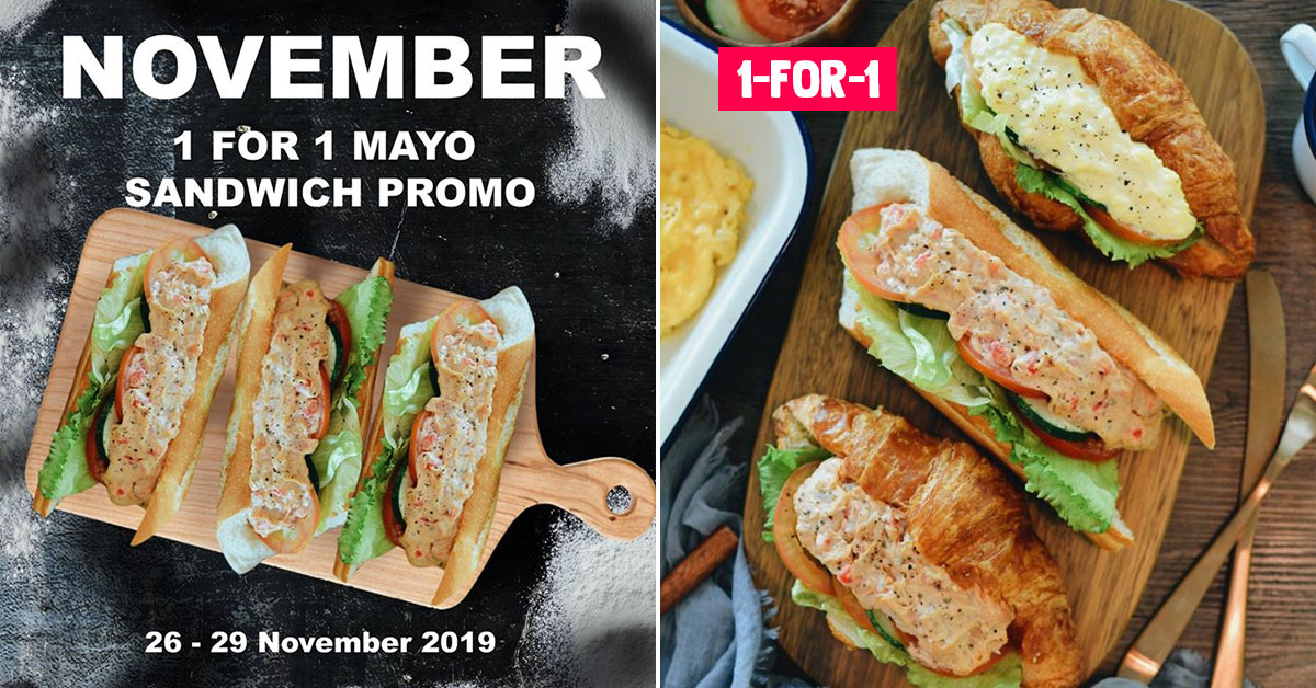 Delifrance S'pore now having 1-for-1 Mayo Sandwich Promo till Nov 29 at all outlets
