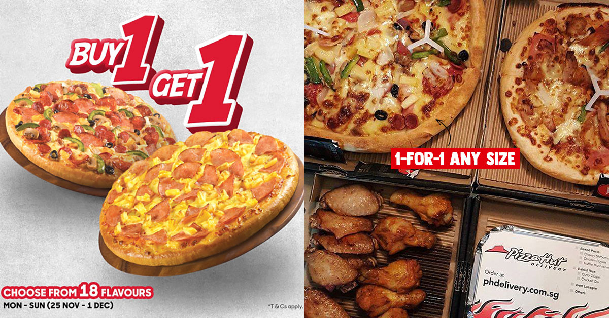 Pizza Hut Delivery offering 1-for-1 Pizza Promotion in any size till Dec 1 with 18 flavours to choose from