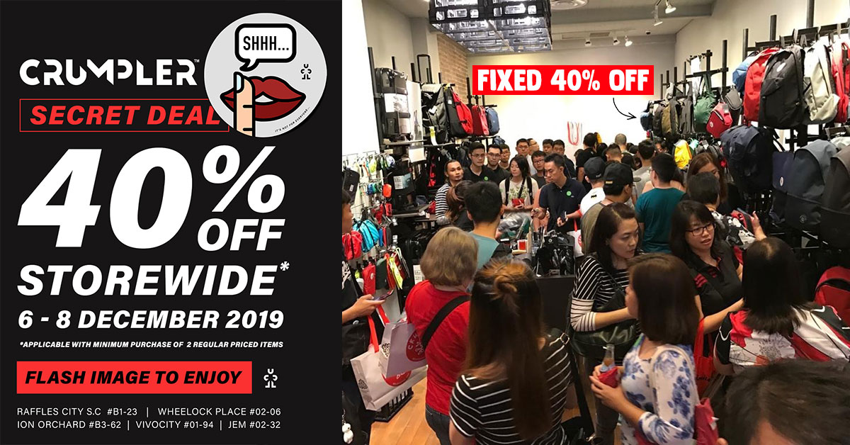 Crumpler S'pore is secretly having a 40% Off Storewide Sale from Dec 6 – 8 on all bags & accessories
