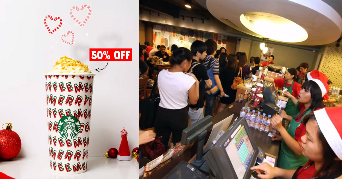 Starbucks Christmas Open House to offer 50% off any festive drinks on Dec 5, from 5pm – 7pm
