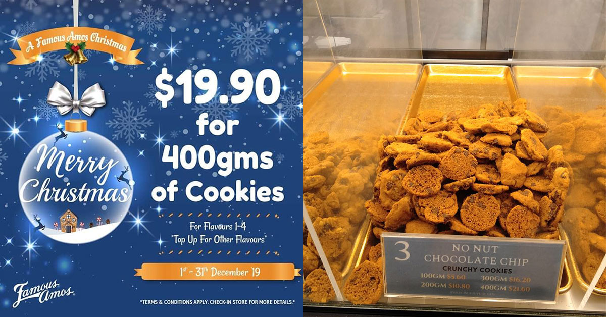 Famous Amos now selling 400g of cookies for only $19.90 till Dec 31 with 4 flavours to choose from