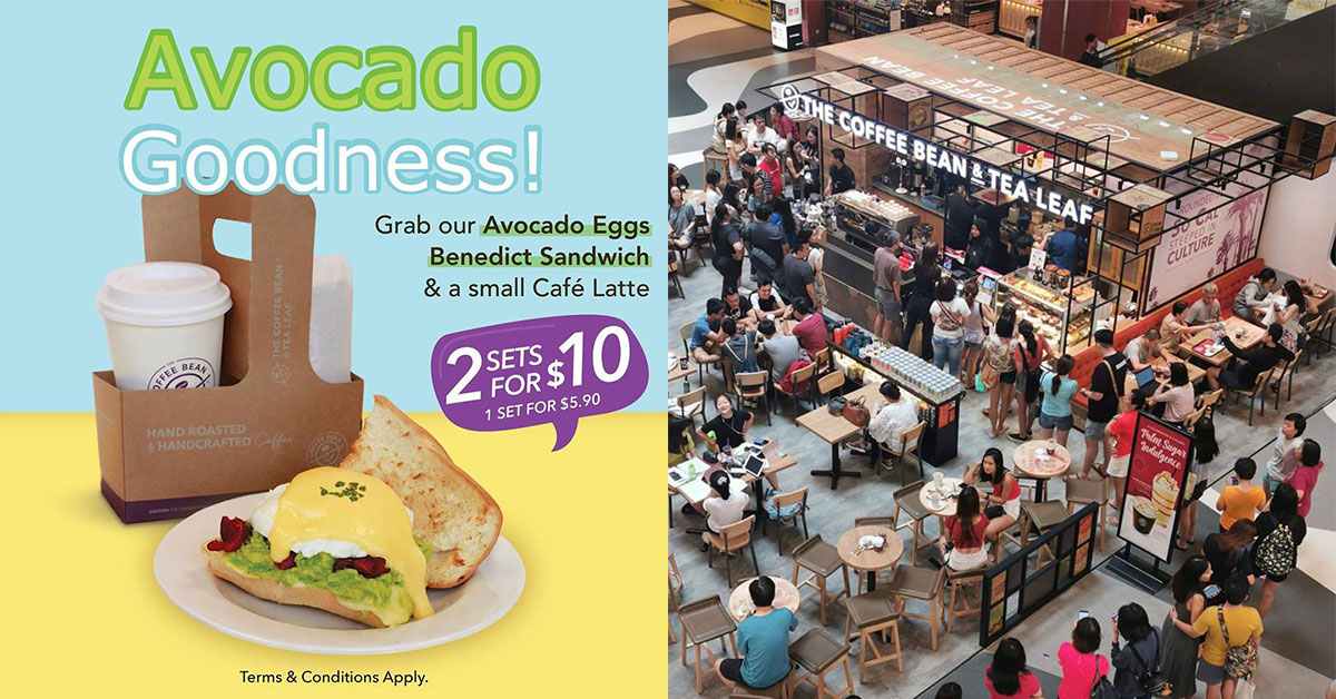 Coffee Bean S'pore now has Avocado Eggs Benedict Sandwich for breakfast. Grab 2 sets for only $10