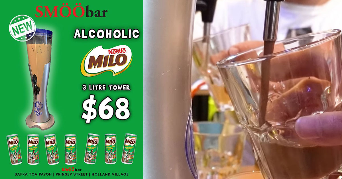 SMÖÖbar now has 3-litre Alcoholic MILO Tower you can totally get drunk on for S$68