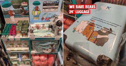 Watsons S'pore selling We Bare Bears merchandise including umbrella, neckrest, 24-inch travel luggage & more