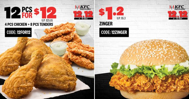 Kfc 12 12 Promo Codes Lets You Enjoy 12pc Chicken Zinger Burger Whipped Potato From 0 12 Till Dec 12 Great Deals Singapore