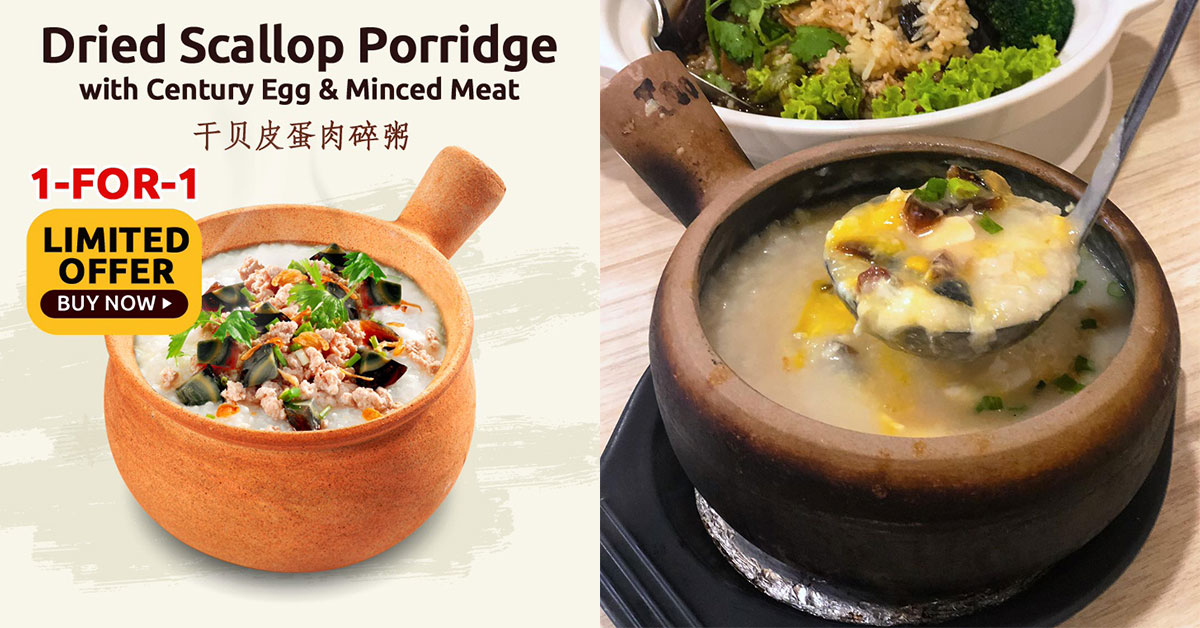 A-One 1-for-1 Offer on Claypot Porridge means you pay less than S$5 per pot, redeemable till Jan 10
