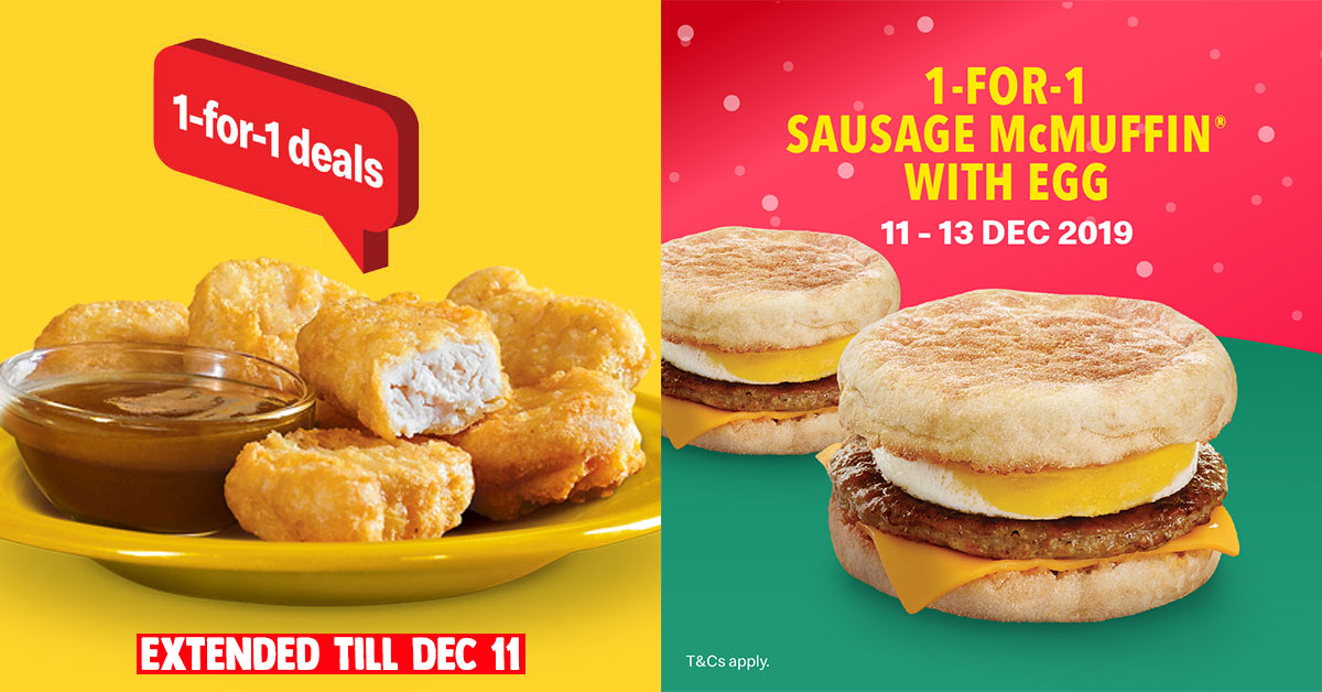 McDonald's app has 1-for-1 Sausage McMuffin with Egg till Dec 13 plus McNuggets 1-for-1 deal gets extended