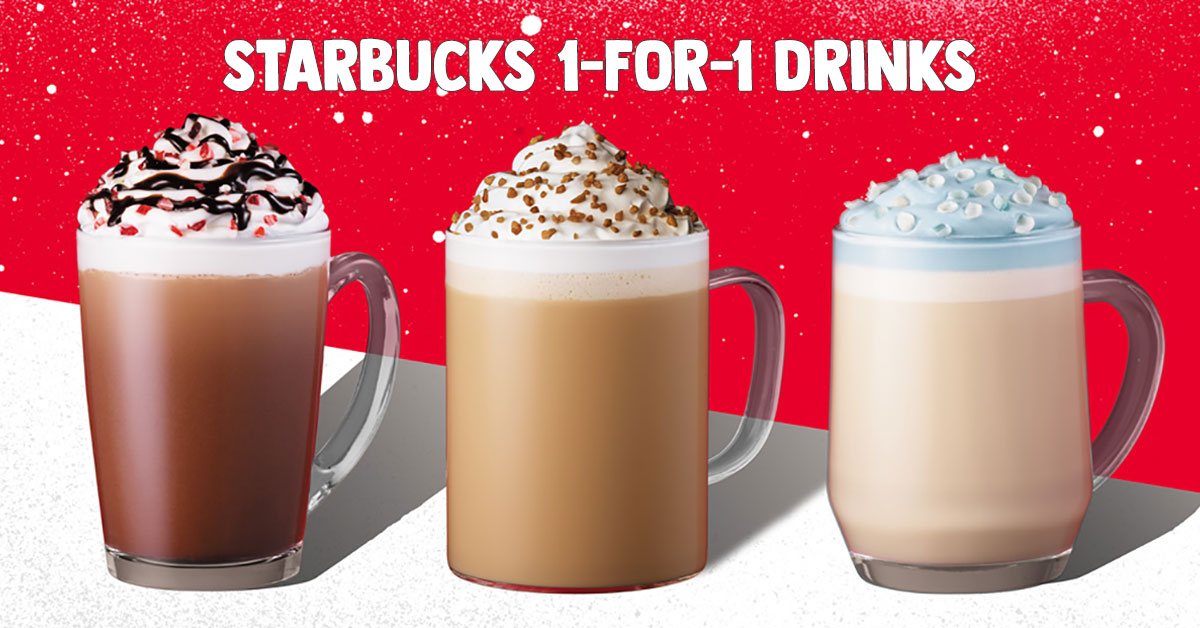 Starbucks S'pore 1-for-1 Treat Promotion on Holiday Beverages happening from Dec 16 – 20