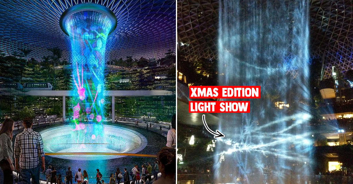 Rain Vortex at Jewel Changi Airport now has a Christmas Edition Light Show till Jan 5