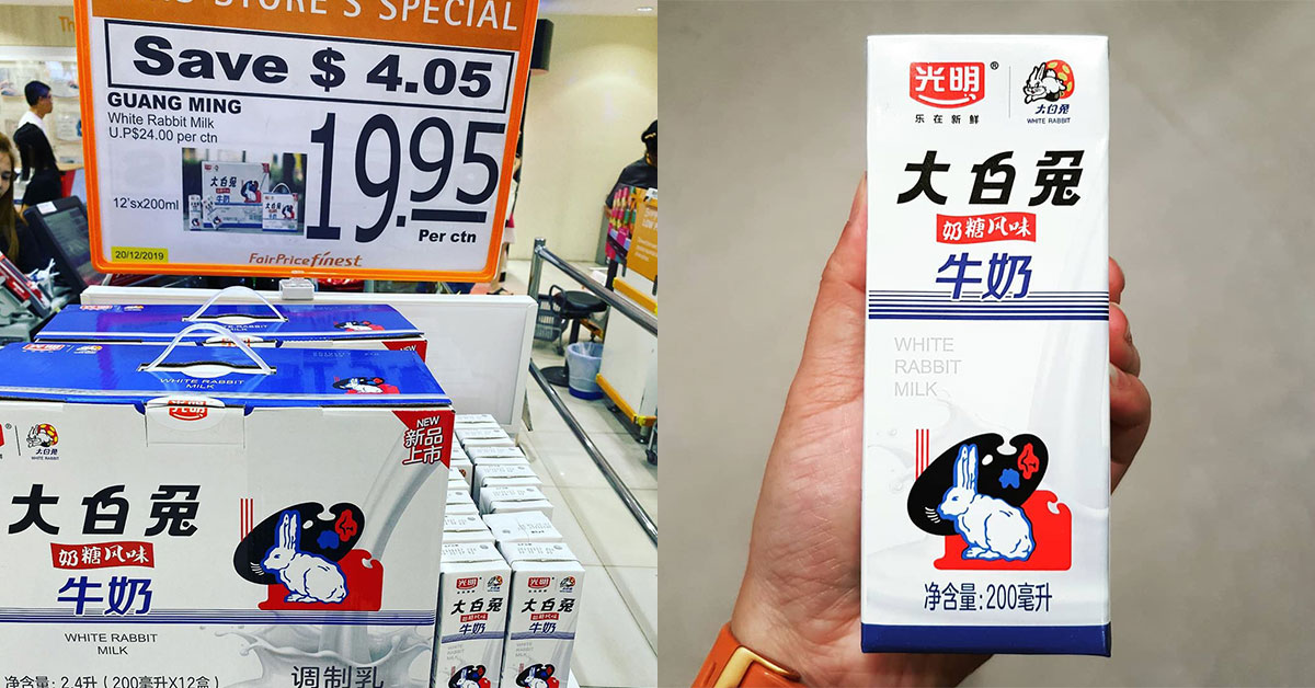 Cartons of White Rabbit Milk spotted selling for $19.95 at FairPrice supermarkets, has 12 packets in them