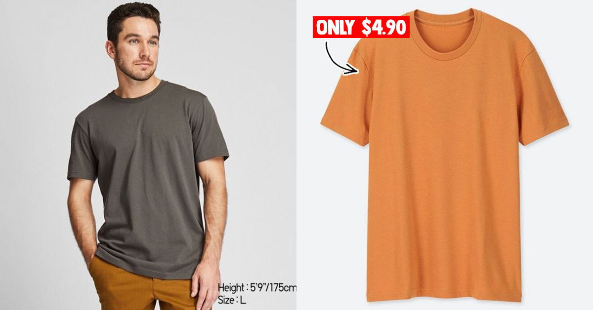 Uniqlo S'pore selling plain t-shirts at S$4.90 each for a limited time. Over 10 colours to choose from