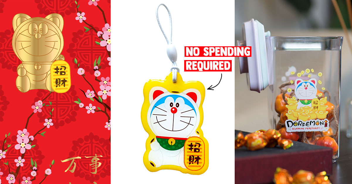 CNY-themed Doraemon EZ-Charm, Red Packets & Containers available from Jan 3 at AMK Hub and Jurong Point