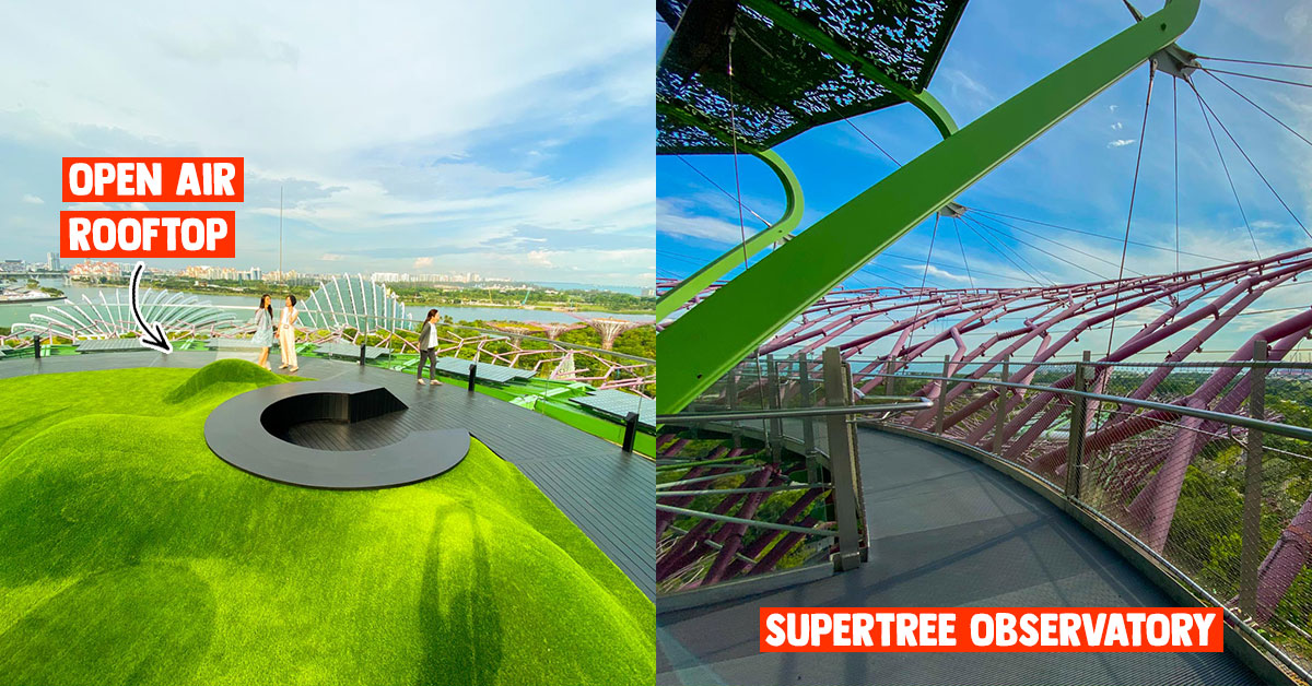 Supertree Observatory at Gardens by the Bay now has Open-Air Rooftop with panoramic views of Marina Bay Skyline