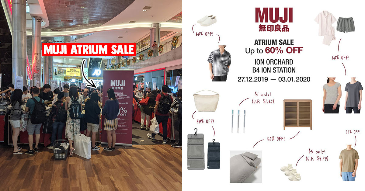 MUJI Final Atrium Sale in ION Orchard till Jan 3 has clothing, luggage & household essentials from S$1