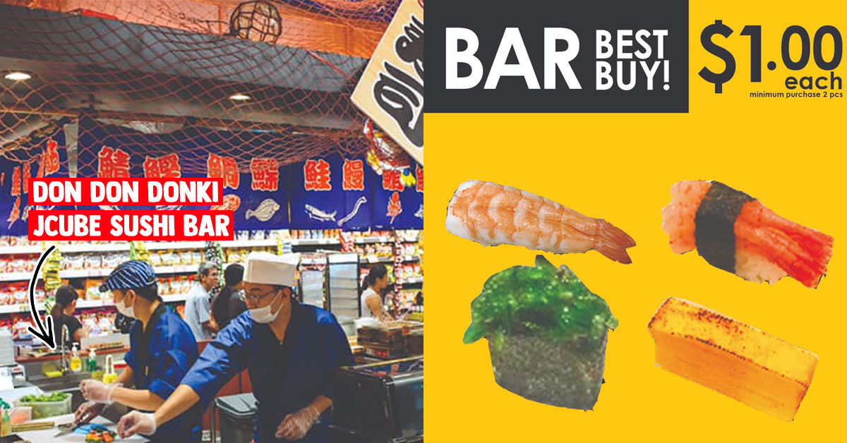 Don Don Donki JCube's Sushi Bar lets you mix & match your favourite sushi with prices as low as S$1 each