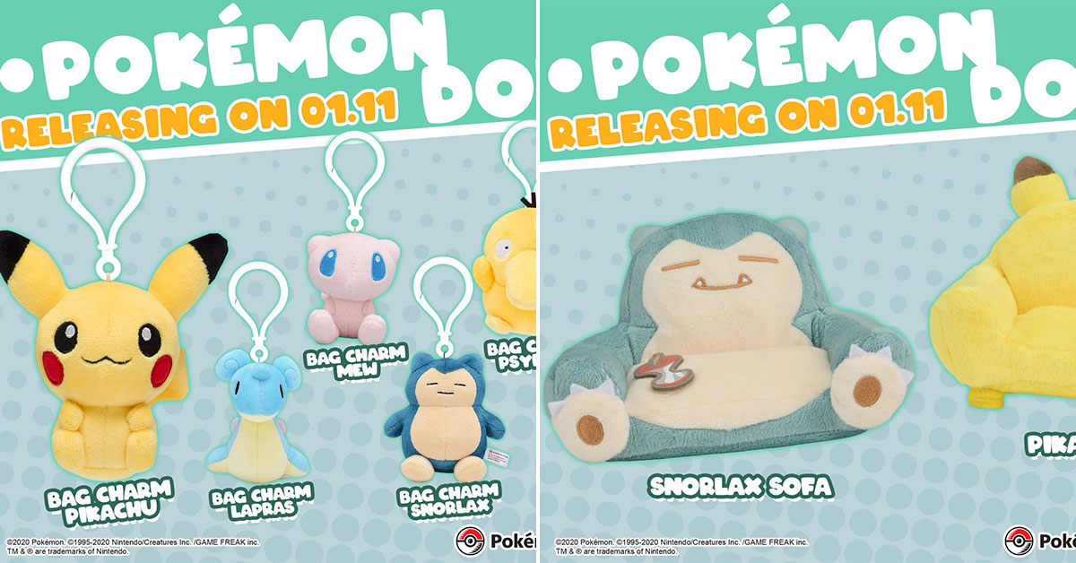 New Pokémon Bag Charms, Pokedolls & Sofa Cushions coming to S'pore from Jan 11