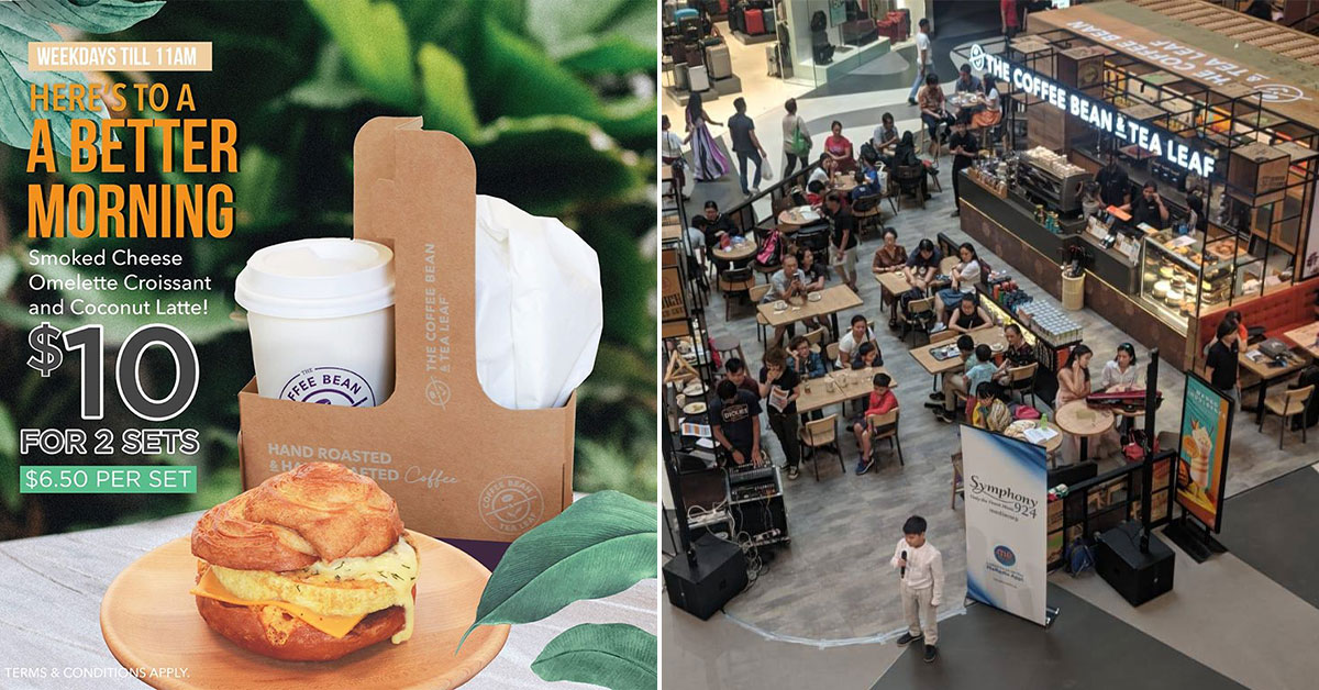 Coffee Bean offer 2 sets of breakfast for $10 on weekdays. It has Smoked Cheese Omelette Croissant & Coconut Latte
