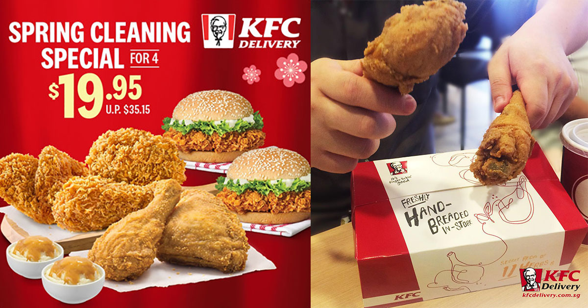 KFC Delivery has a Spring Cleaning Special good for 4 selling at just S$19.95 for a limited time (U.P. $35.15)