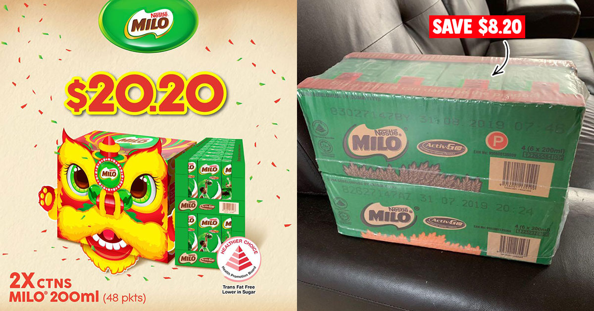 MILO S'pore has CNY Promotion selling 2 cartons at only $20.20 for a short period till Jan 21 (U.P. $28.40)